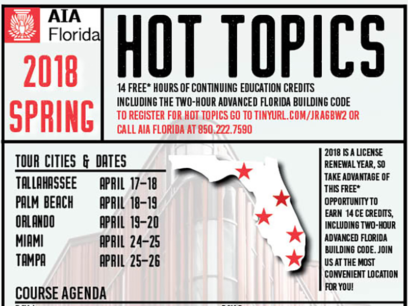 AIA Florida Continuing Education Spring 2018 Hot topics